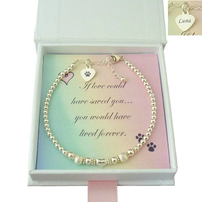 Pet Loss Bracelet with Sterling Silver Beads and Personalised Engraving | Someone Remembered